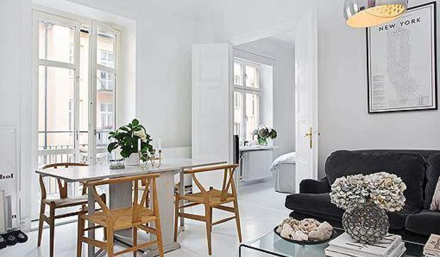 Un apartamento c lido y decorado en color blanco for Decoracion de casas de 65 metros cuadrados